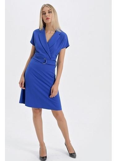 Jument Scuba Yakalı Anvelop Eteği Kiloş D Tokalı Elbise Saks
